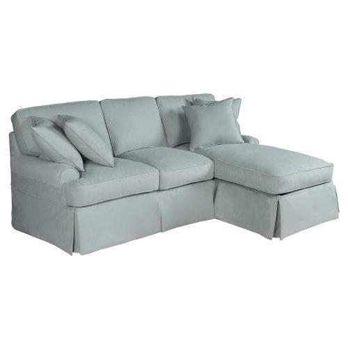 Horizon Slipcovered Collection - Sleeper Sofa with chaise - three-quarter view SU-117678-391043