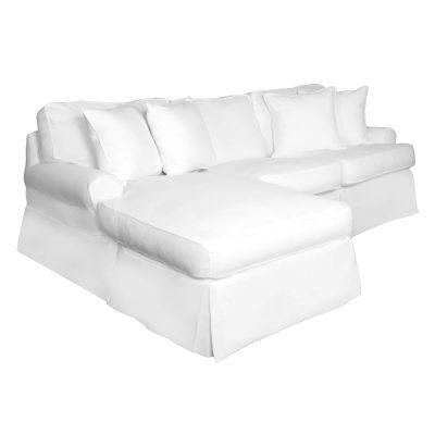 Horizon Slipcovered Collection - Sleeper Sofa with chaise - three-quarter view SU-117678-391081