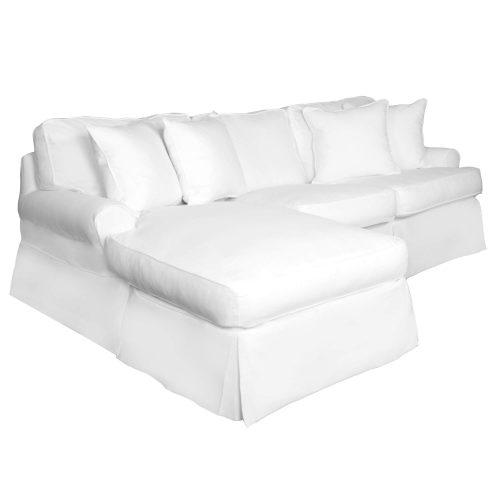 Horizon Slipcovered Collection - Sleeper Sofa with chaise - three-quarter view SU-117678-423080