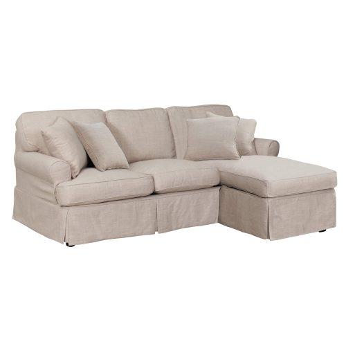 Horizon Slipcovered Collection - Sleeper Sofa with chaise - three-quarter view SU-117678-466082