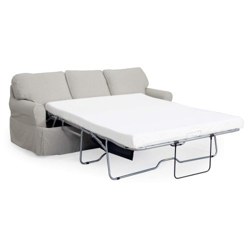 Horizon Slipcovered Collection - Sleeper Sofa with chaise - three-quarter view with sleeper open SU-117678-220591
