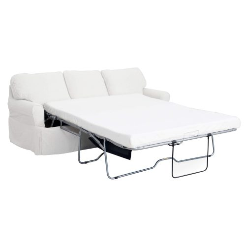 Horizon Slipcovered Collection - Sleeper Sofa with chaise - three-quarter view with sleeper open SU-117678-391081
