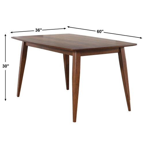 Mid Century Dining Collection - Dining table - 60 inch - dimensions - DLU-MC3660