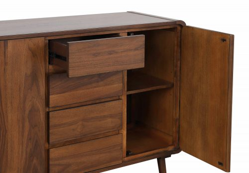 Mid-Century Dining Collection - Server - drawers and door open - DLU-MC-SR