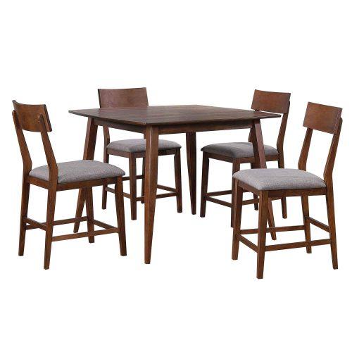 Mid-Century Dining Collection - five-piece pub hieght dining set - three-quarter view - DLU-MC4848-B45-5P