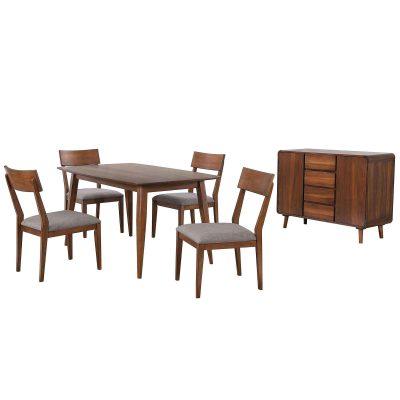 Mid-Century Dining Collection - six-piece dining set - three-quarter view DLU-MC3660-C45-SR6P