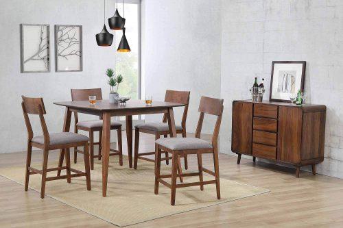 Mid-Century Dining Collection - six-piece pub height dining set - dining room setting - DLU-MC4848-B45-SR6P