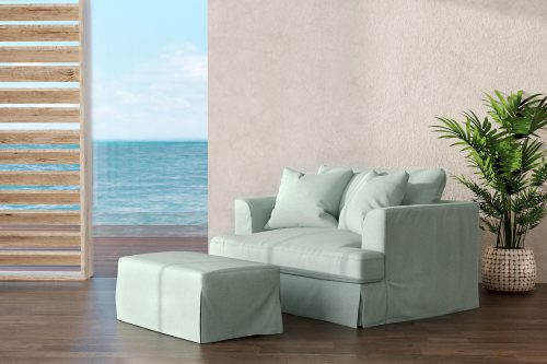 Newport Slipcovered Collection - Chair and a half with ottoman - living room setting SY-130015-30-391043