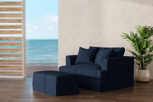 Newport Slipcovered Collection - Chair and a half with ottoman - living room setting SY-130015-30-391049