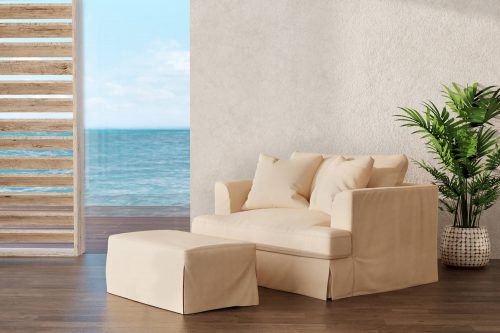 Newport Slipcovered Collection - Chair and a half with ottoman - living room setting SY-130015-30-391084