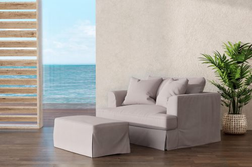 Newport Slipcovered Collection - Chair and a half with ottoman - living room setting SY-130015-30-391094