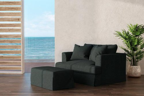 Newport Slipcovered Collection - Chair and a half with ottoman - living room setting SY-130015-30-391098