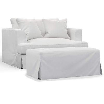 Newport Slipcovered Collection - Chair and a half with ottoman - three-quarter view SY-130015-30-391081
