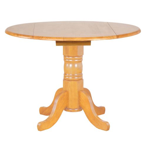 Oak Selection - Round dining table with drop leaf - light-oak finish DLU-TPD4242-LO