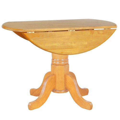 Oak Selection - Round dining table with drop leaf - light-oak finish - leaf down DLU-TPD4242-LO