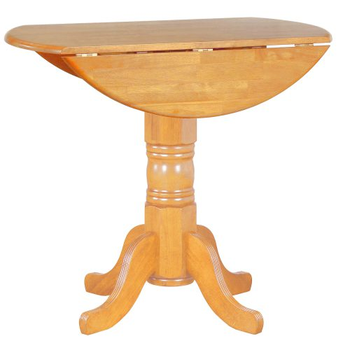 Oak Selection - Round pub table with drop leaf - light-oak finish with leaf down DLU-TPD4242CB-LO