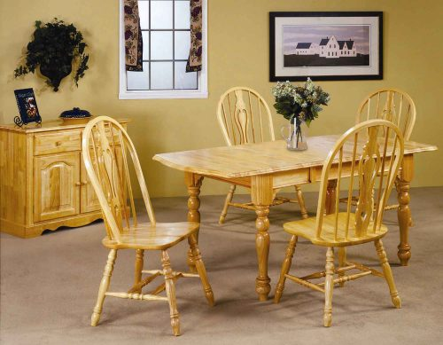 Oak Selections - 5-piece dining set - Extendable dining table with butterfly leaf and four keyhole chairs in a light-oak finish - dining room setting DLU-TDX3472-124S-LO5PC