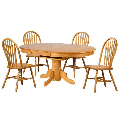 Oak Selections - 5-piece dining set - Pedestal table with butterfly leaf and four Arrow-back chair in a light-oak finish DLU-TBX4266-820-LO5PC