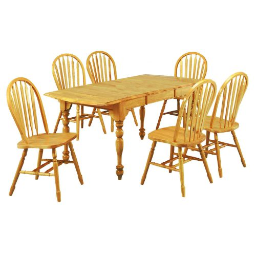 Oak Selections - 7-piece dining set - Extendable dining table with butterfly leaf and four Arrow-back chairs in a light-oak finish DLU-TDX3472-820-LO7PC