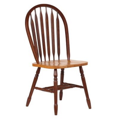 Oak Selections - Arrow-back dining chair - 38 inch high - nutmeg finish with light-oak seat - front view DLU-820-NLO-2