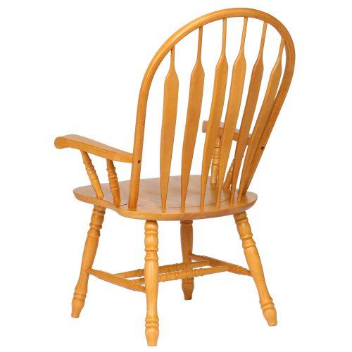 Oak Selections - Comfort back dining arm chair - light-oak - back view DLU-4130-LO-A