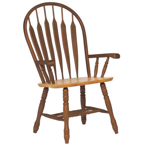 Oak Selections - Comfort back dining arm chair - nutmeg finish with light-oak seat - front view DLU-4130-NLO-A
