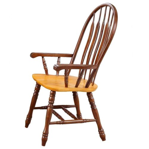 Oak Selections - Comfort back dining arm chair - nutmeg finish with light-oak seat - side view DLU-4130-NLO-A