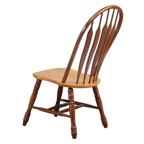 Oak Selections - Comfort back dining chair - nutmeg finish with light-oak seat - back view DLU-4130-NLO-2