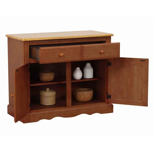 Oak Selections - Keepsake Buffet and lighted hutch in Nutmeg finish with light-Oak accents buffet with open door and drawers DLU-19-BH-NLO