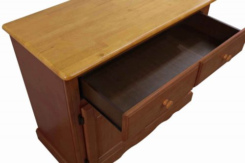 Oak Selections - Keepsake Buffet and lighted hutch in Nutmeg finish with light-Oak accents detail of top and open drawer DLU-19-BH-NLO