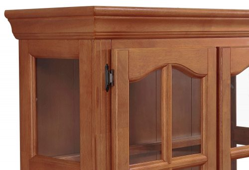 Oak Selections - Keepsake Buffet and lighted hutch in Nutmeg finish with light-Oak accents detail of top molding DLU-19-BH-NLO