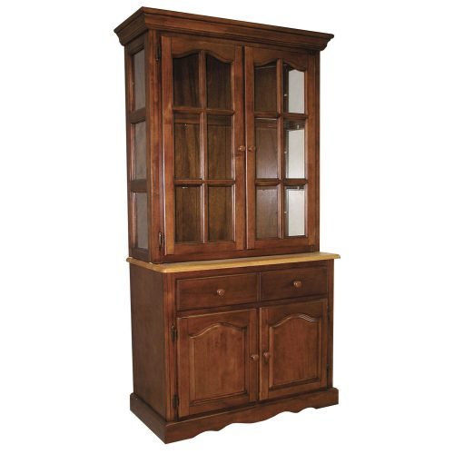 Oak Selections - Keepsake Buffet and lighted hutch in Nutmeg finish with light-Oak accents three-quarter view DLU-19-BH-NLO