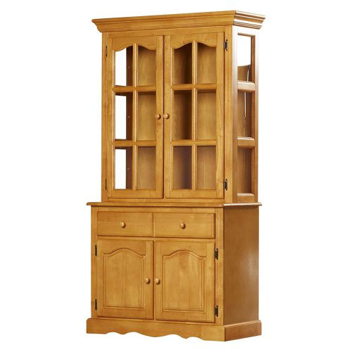 Oak Selections - Keepsake Buffet and lighted hutch in light-Oak angled view DLU-19-BH-LO
