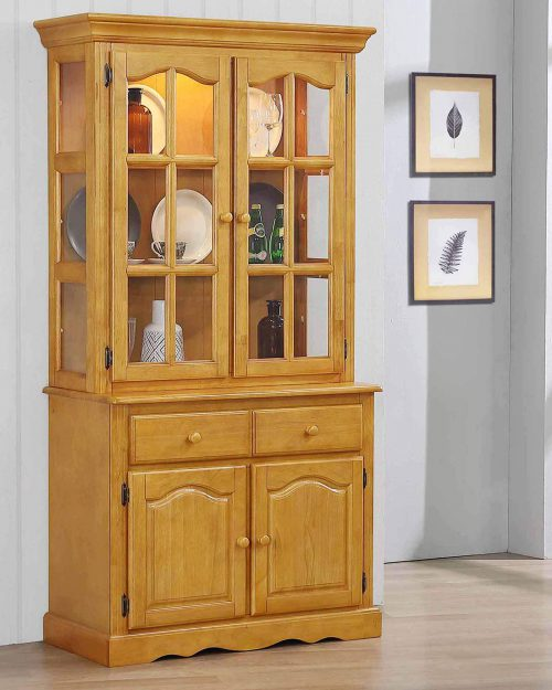 Oak Selections - Keepsake Buffet and lighted hutch in light-Oak angled view in dining room setting DLU-19-BH-LO
