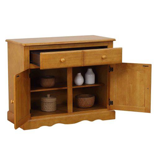 Oak Selections - Keepsake Buffet and lighted hutch in light-Oak buffet drawers and doors open DLU-19-BH-LO