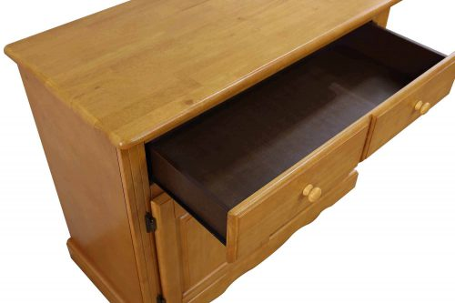 Oak Selections - Keepsake Buffet and lighted hutch in light-Oak detail of top and open drawer DLU-19-BH-LO