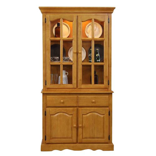 Oak Selections - Keepsake Buffet and lighted hutch in light-Oak front view DLU-19-BH-LO