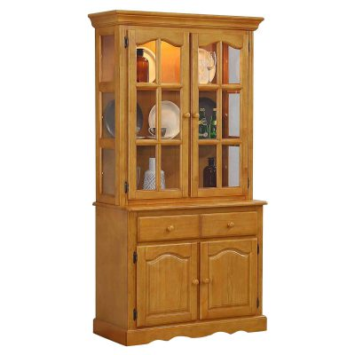 Oak Selections - Keepsake Buffet and lighted hutch in light-Oak three-quarter view DLU-19-BH-LO