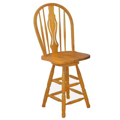 Oak Selections - Keyhole Barstool - 24 inch high - light-oak finish - front view DLU-B124-24-LO