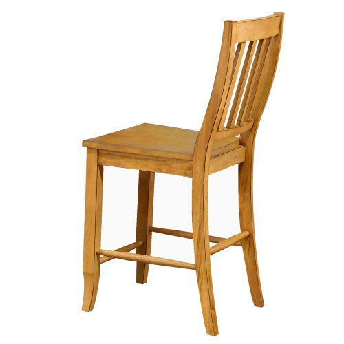 Oak Selections - Schoolhouse counter height stools - light-Oak finish - back view DLU-B20-LO-2