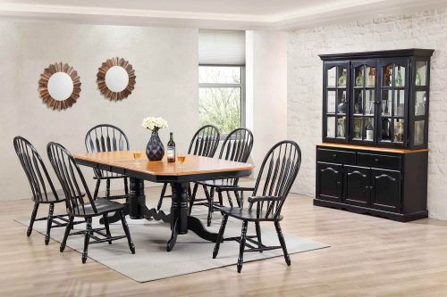 Black Cherry Selections - Eight-piece dining set - Extendable dining table - six chairs - Treasure buffet and lighted hutch in Antique black finish with Cherry accents DLU-22-BH-BCH