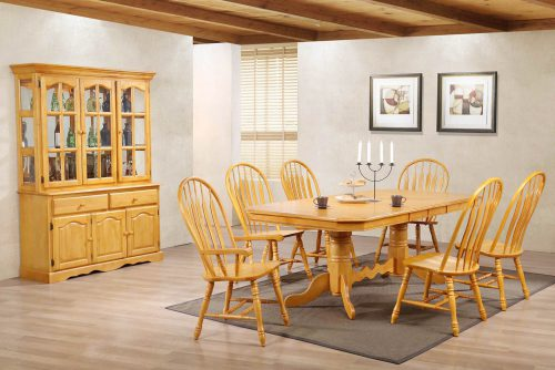 Oak selections - Eight-piece dining set - extendalbe dining table - six chairs - Treasure buffet and lighted hutch in a light-Oak accents DLU-22-BH-LO