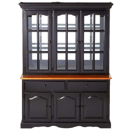 Black Cherry Selections - Treasure buffet and lighted hutch in Antique black finish with Cherry accents - front view DLU-22-BH-BCH