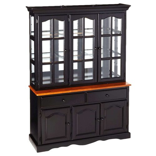 Black Cherry Selections - Treasure buffet and lighted hutch in Antique black finish with Cherry accents - three-quarter view DLU-22-BH-BCH
