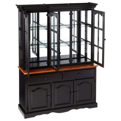 Black Cherry Selections - Treasure buffet and lighted hutch in Antique black finish with Cherry accents - three-quarter view with door open DLU-22-BH-BCH