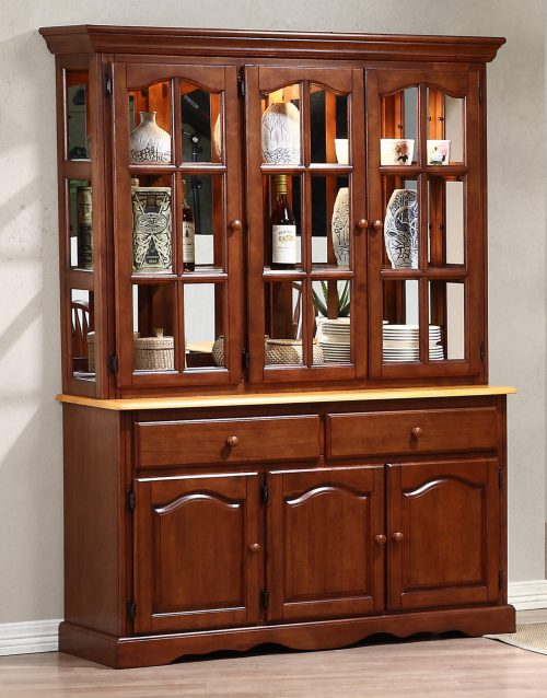 Oak selections - Treasure buffet and lighted hutch in Nutmeg finish with light-Oak accents - dining room setting DLU-22-BH-NLO
