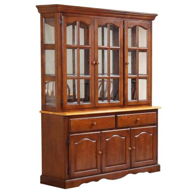 Oak selections - Treasure buffet and lighted hutch in Nutmeg finish with light-Oak accents - three-quarter view DLU-22-BH-NLO