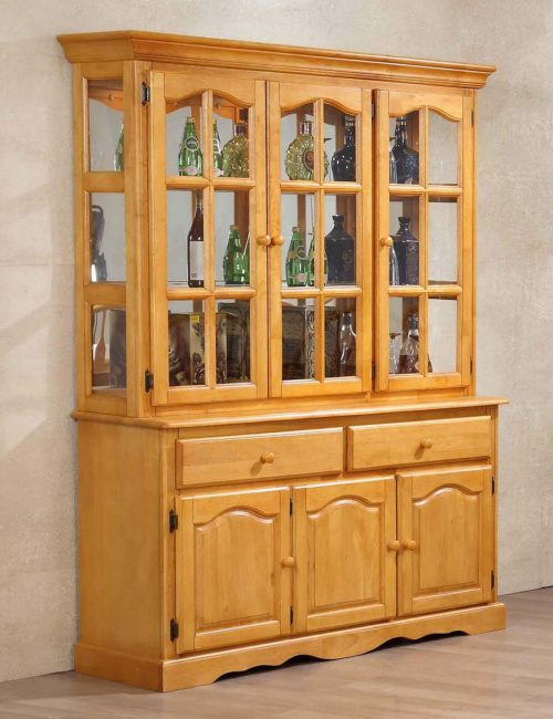 Oak selections - Treasure buffet and lighted hutch in a light-Oak accents - dining room view DLU-22-BH-LO
