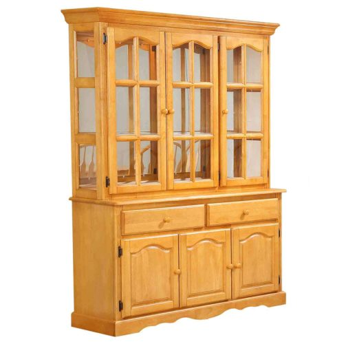 Oak selections - Treasure buffet and lighted hutch in a light-Oak accents - three-quarter view DLU-22-BH-LO