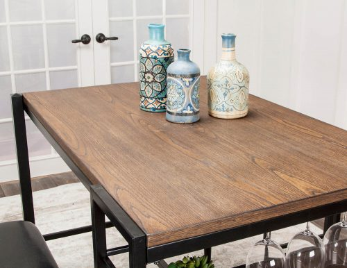 Rustic Elm Industrial Collection - Counter height pub table set - closeup of pub table top CR-W3077-75